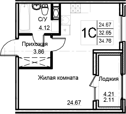 Студия 36 м<sup>2</sup> на 9 этаже