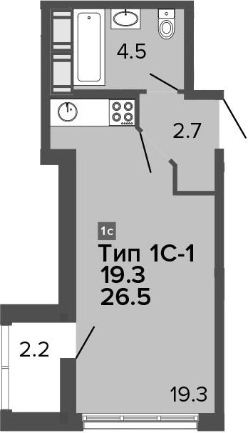 Студия 28 м<sup>2</sup> на 10 этаже