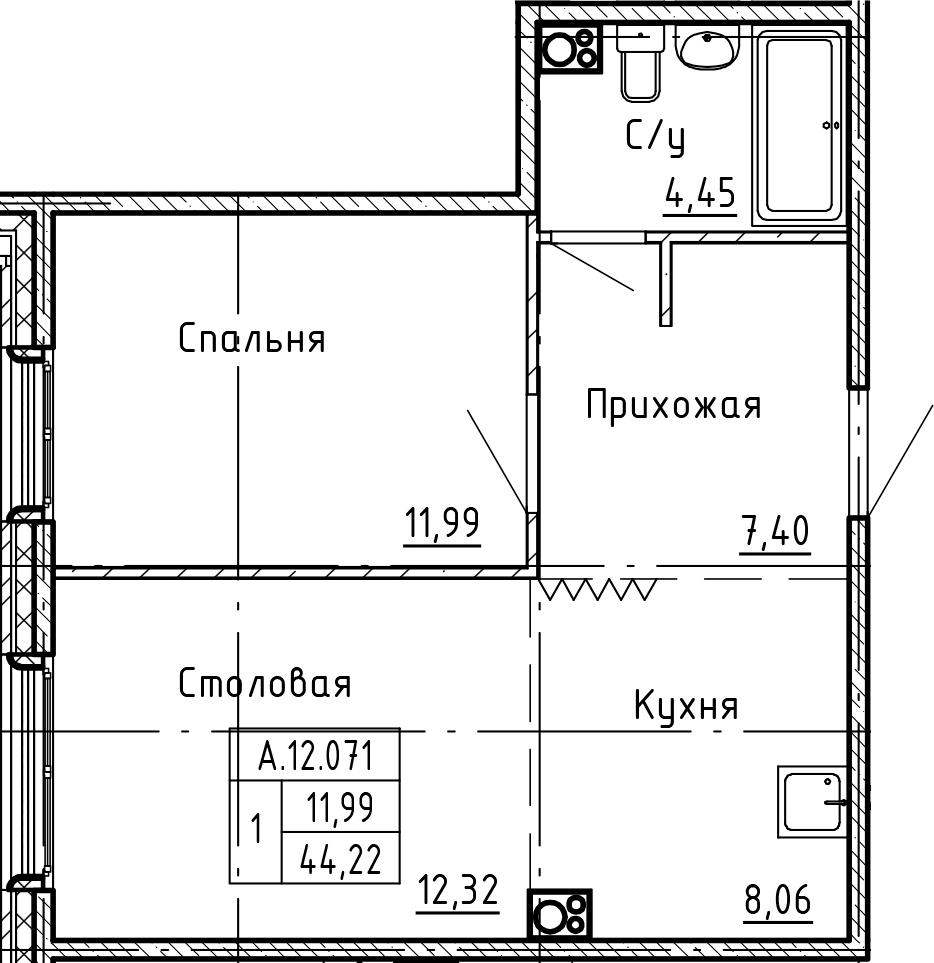 2-комнатная 44 м<sup>2</sup> на 12 этаже