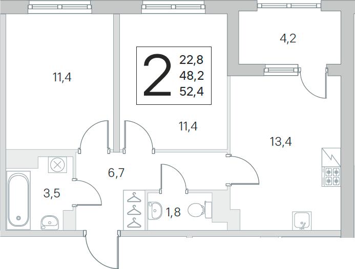 2-комнатная 52 м<sup>2</sup> на 5 этаже