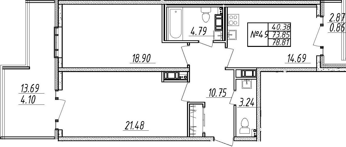 2-комнатная 90 м<sup>2</sup> на 9 этаже