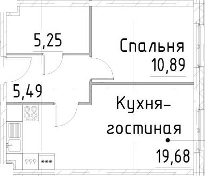 2-к.кв (евро), 41.31 м²