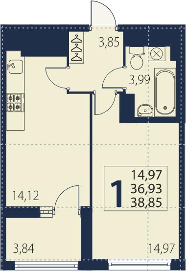 2-комнатная 40 м<sup>2</sup> на 25 этаже