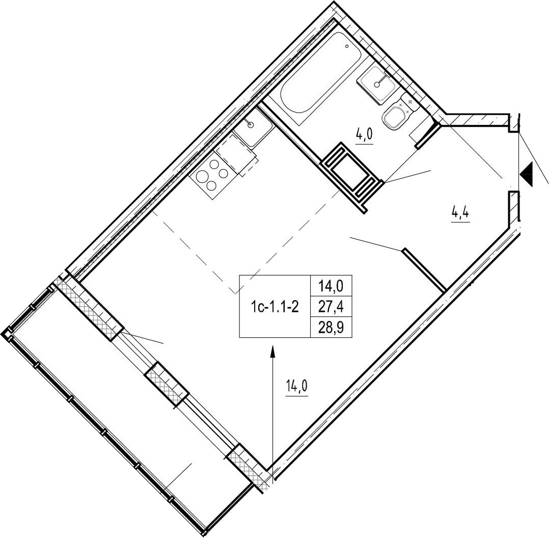 Студия, 32.4 м²