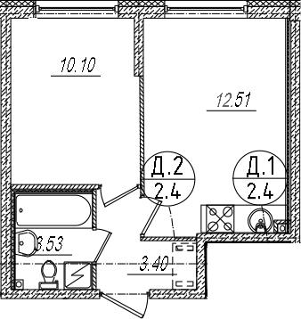 2-комнатная 29 м<sup>2</sup> на 2 этаже