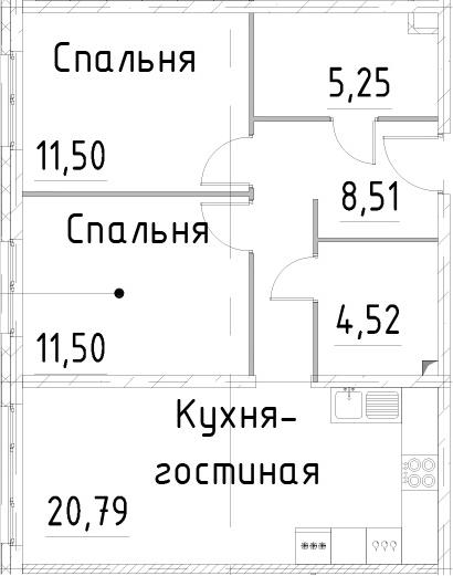 3-к.кв (евро), 62.07 м²