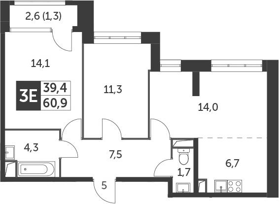 3-к.кв (евро), 62.2 м²