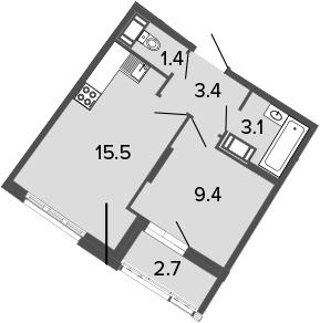 2-комнатная 35 м<sup>2</sup> на 5 этаже