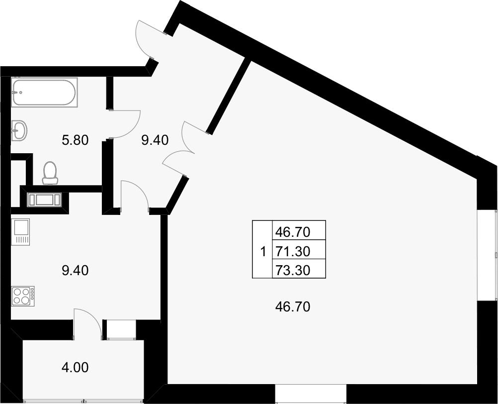 1-к.кв, 75.3 м²