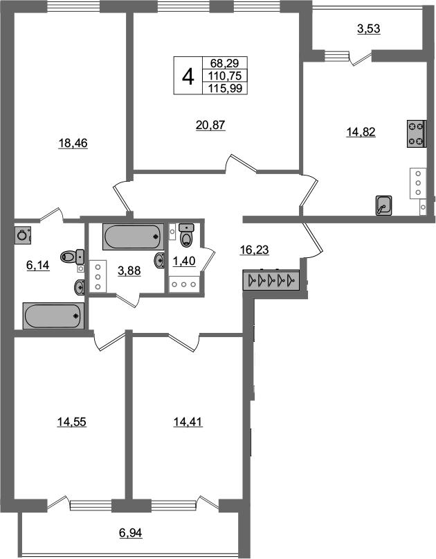 4-комнатная 121 м<sup>2</sup> на 3 этаже