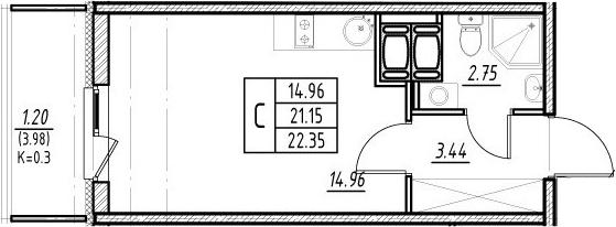 Студия 25 м<sup>2</sup> на 24 этаже