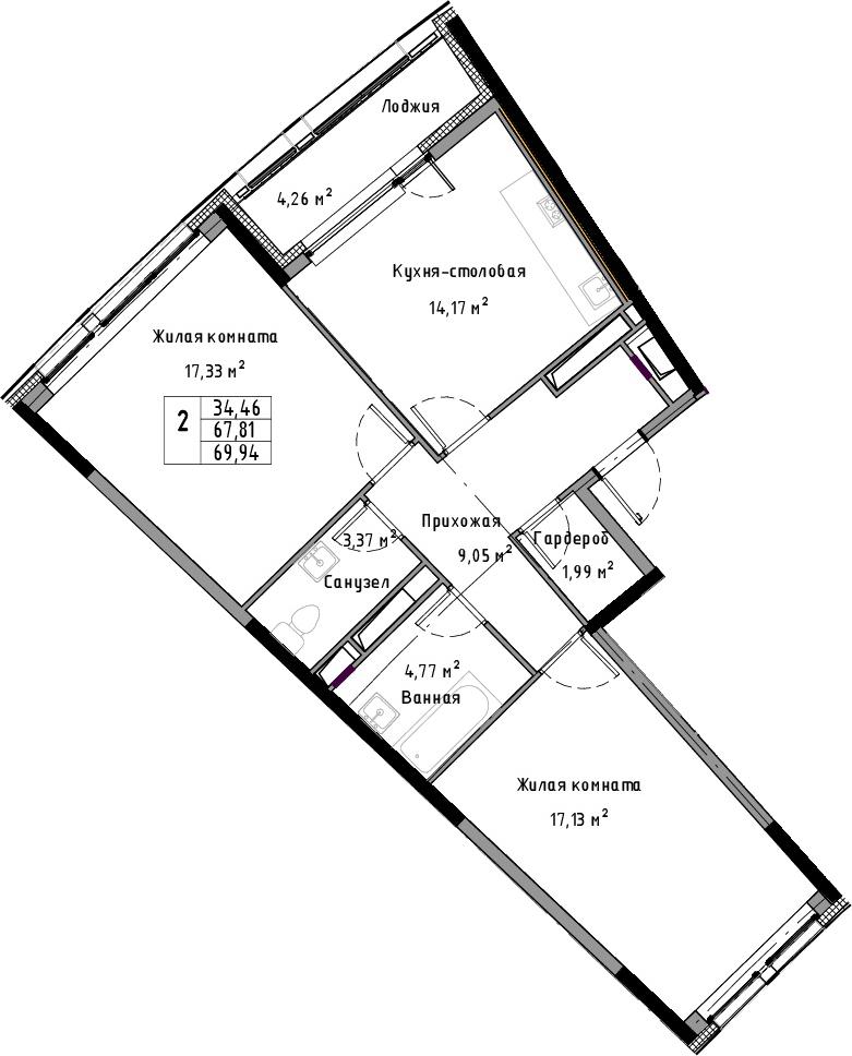 2-комнатная 72 м<sup>2</sup> на 13 этаже