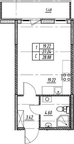 Студия 32 м<sup>2</sup> на 1 этаже