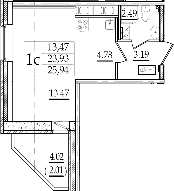 Студия 27 м<sup>2</sup> на 15 этаже