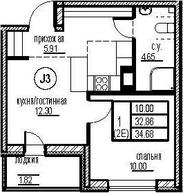 2-к.кв (евро), 36.5 м²