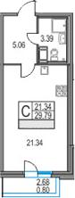 Студия 32 м<sup>2</sup> на 19 этаже