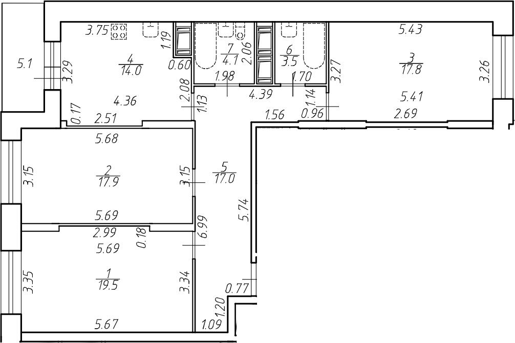 3-комнатная 98 м<sup>2</sup> на 15 этаже