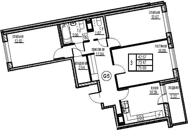 3-к.кв, 77.91 м²