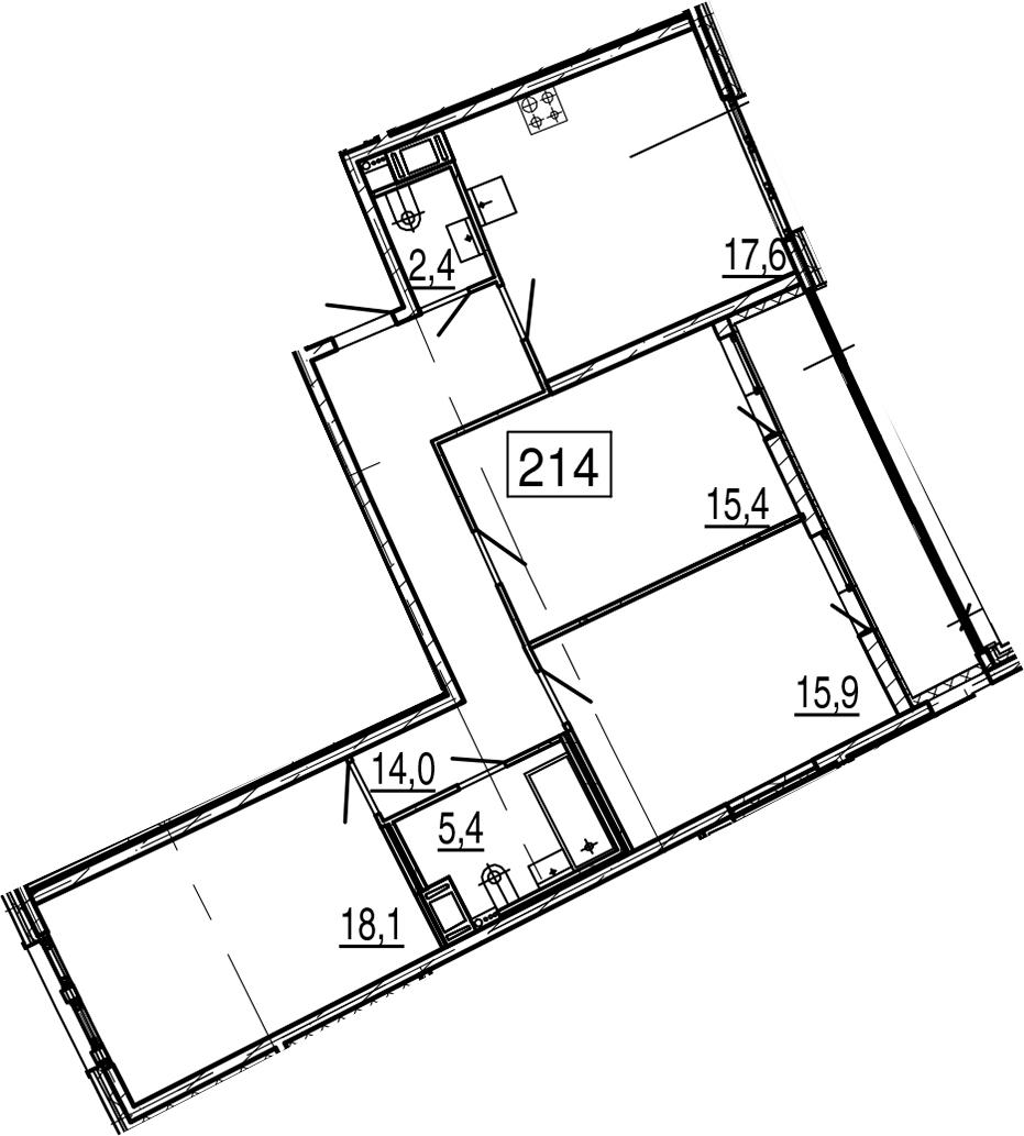 4-комнатная 96 м<sup>2</sup> на 5 этаже