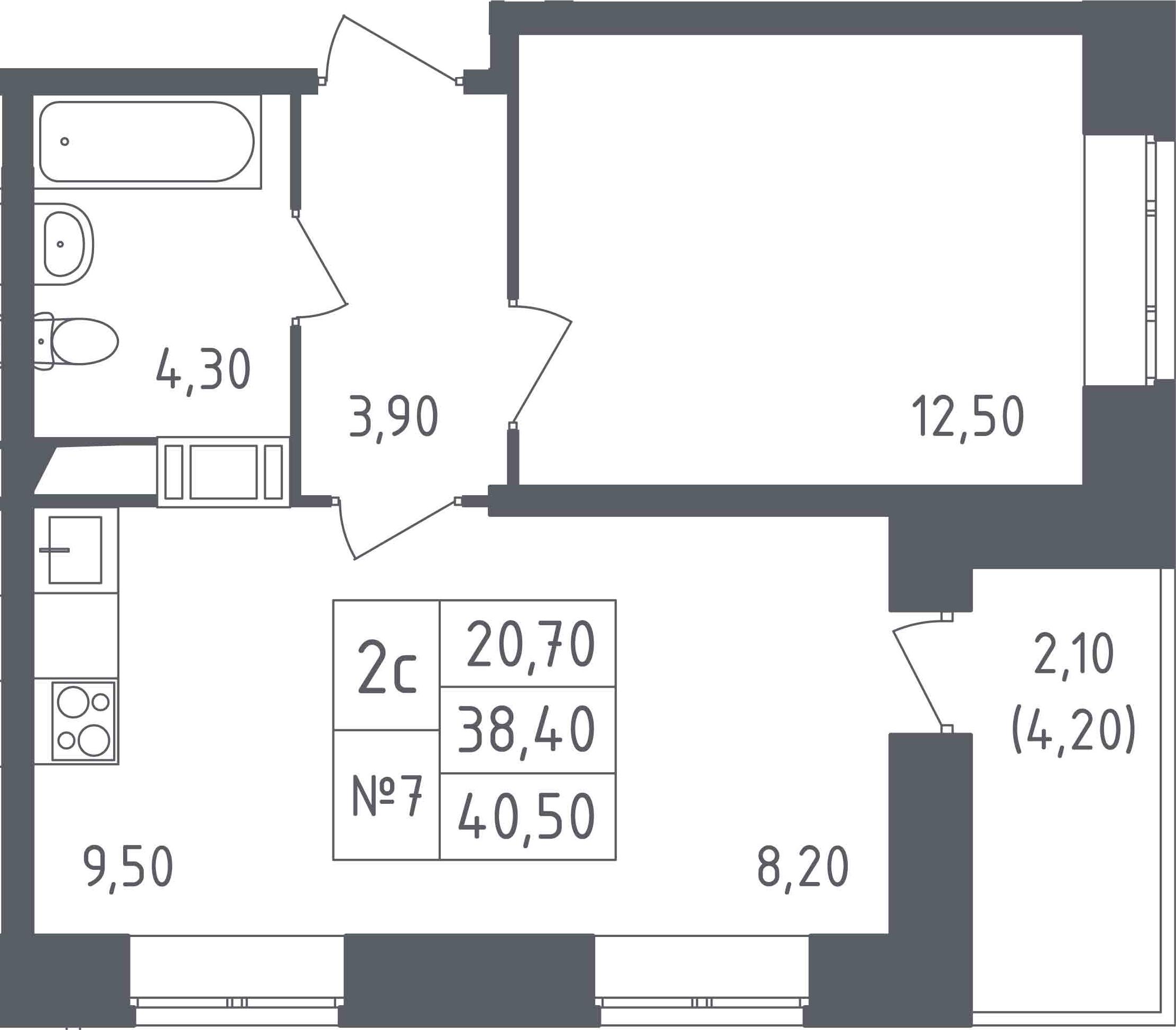 2-к.кв (евро), 42.6 м²