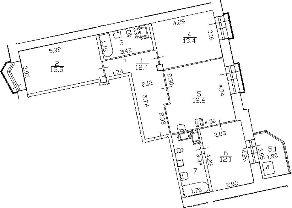 4-комнатная 88 м<sup>2</sup> на 17 этаже