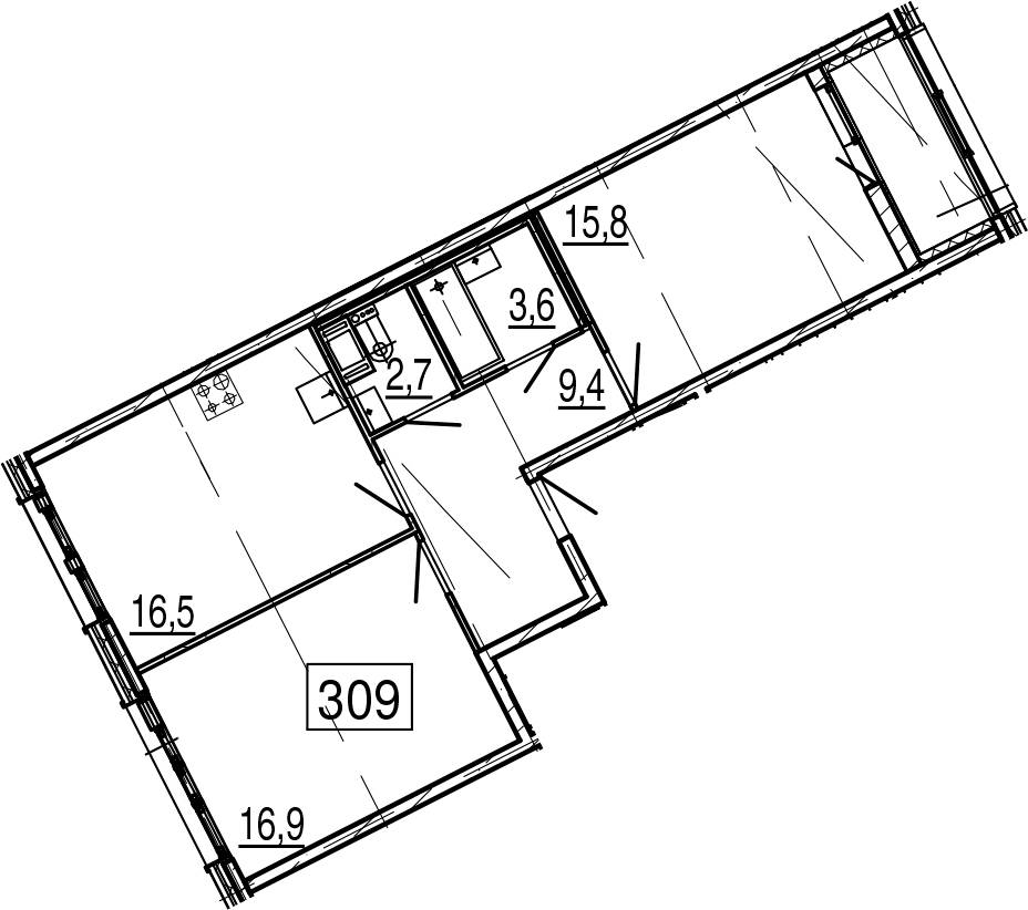 3-комнатная 68 м<sup>2</sup> на 2 этаже