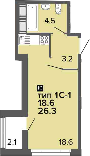 Студия, 28.4 м²