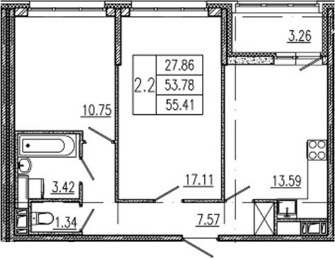 3-комнатная 57 м<sup>2</sup> на 11 этаже