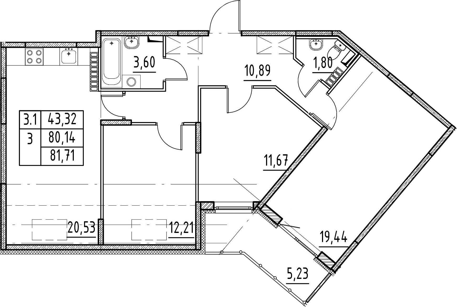 3-комнатная 85 м<sup>2</sup> на 5 этаже