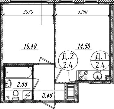 2-комнатная 32 м<sup>2</sup> на 12 этаже