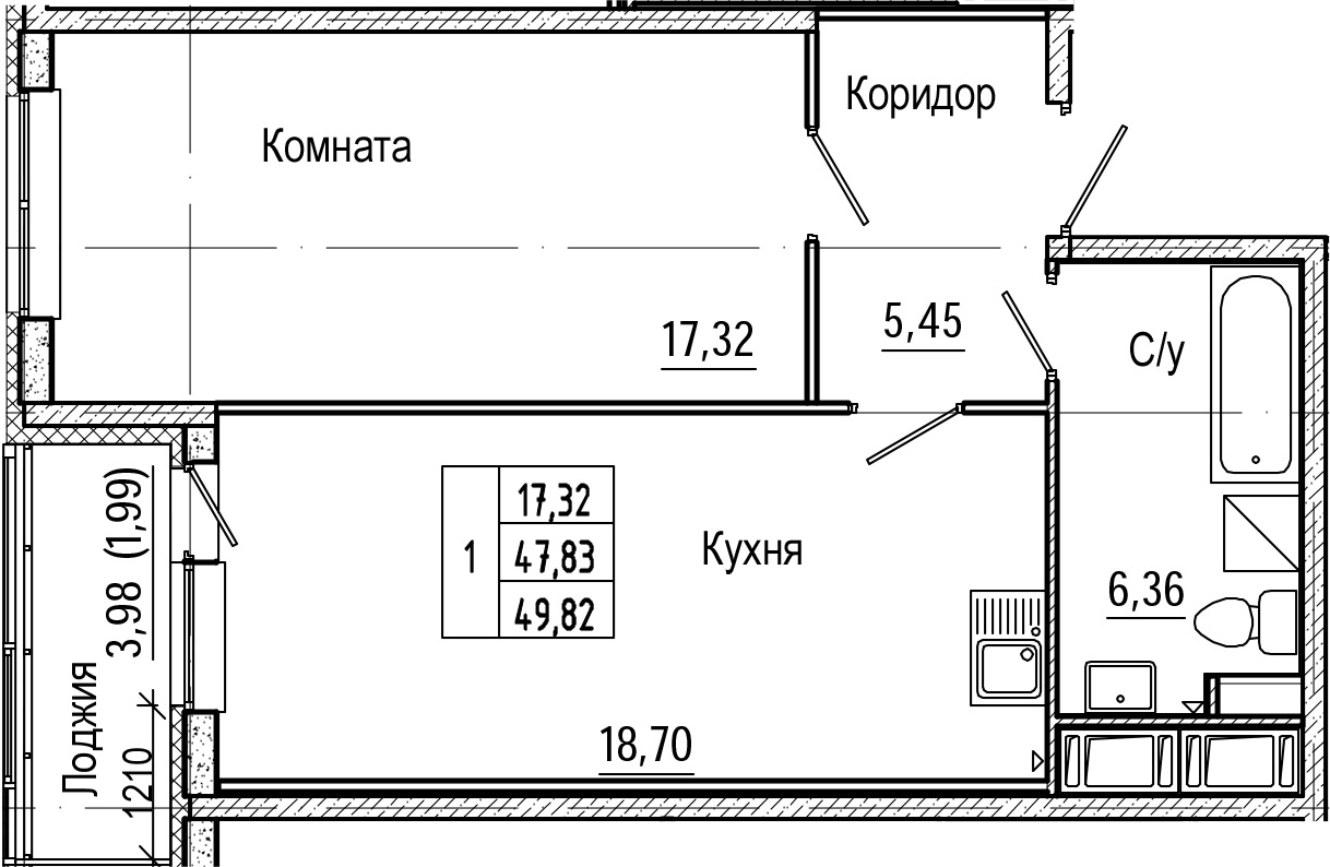 2-комнатная 51 м<sup>2</sup> на 16 этаже