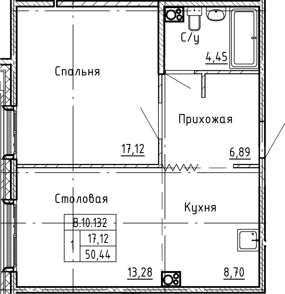 1-комнатная 50 м<sup>2</sup> на 10 этаже