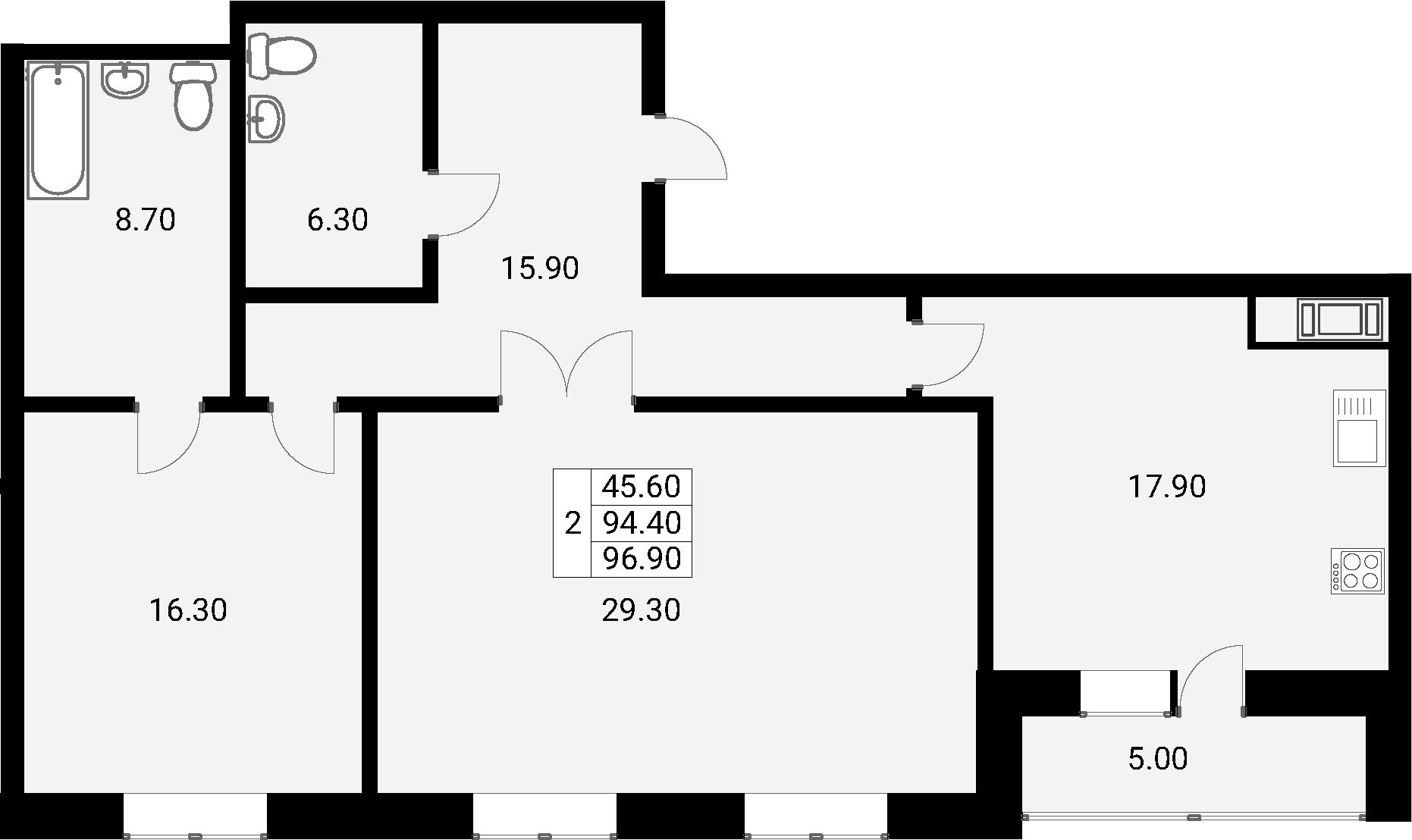 2-к.кв, 99.4 м²