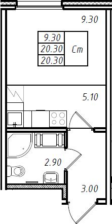 Студия 20 м<sup>2</sup> на 12 этаже