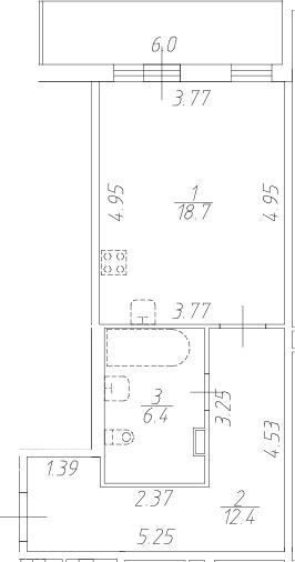 Студия 43 м<sup>2</sup> на 1 этаже