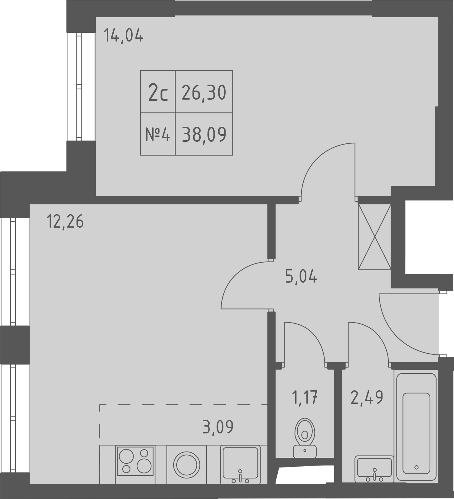 2-к.кв (евро), 38.09 м²