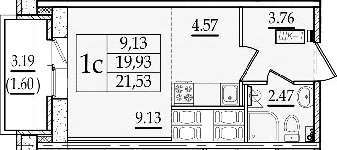 Студия 23 м<sup>2</sup> на 22 этаже