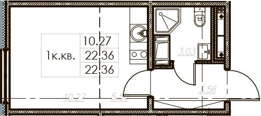 Студия 22 м<sup>2</sup> на 10 этаже