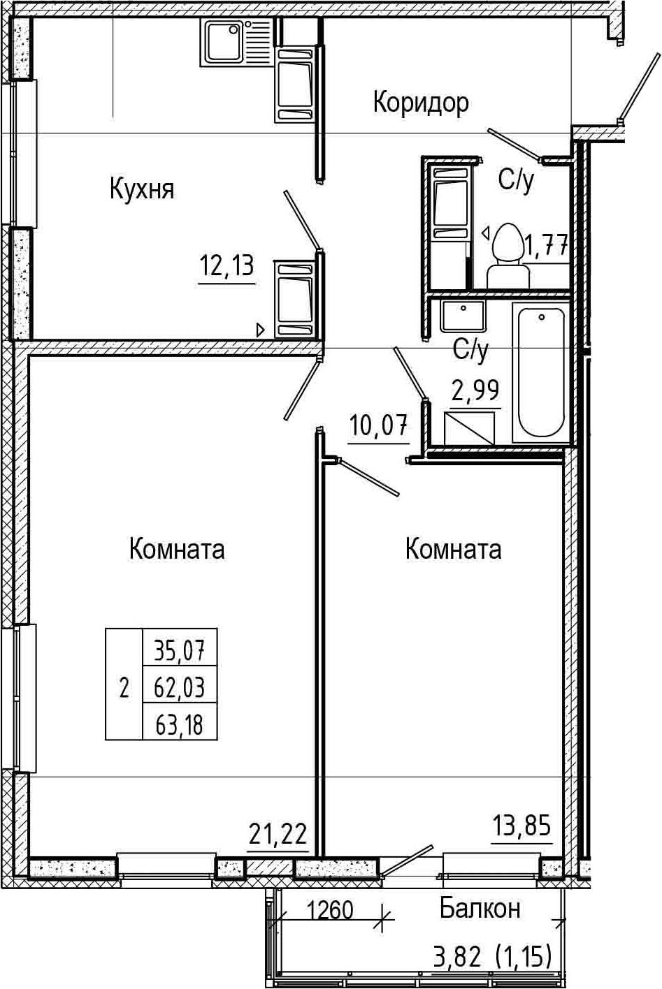 2-комнатная 65 м<sup>2</sup> на 16 этаже