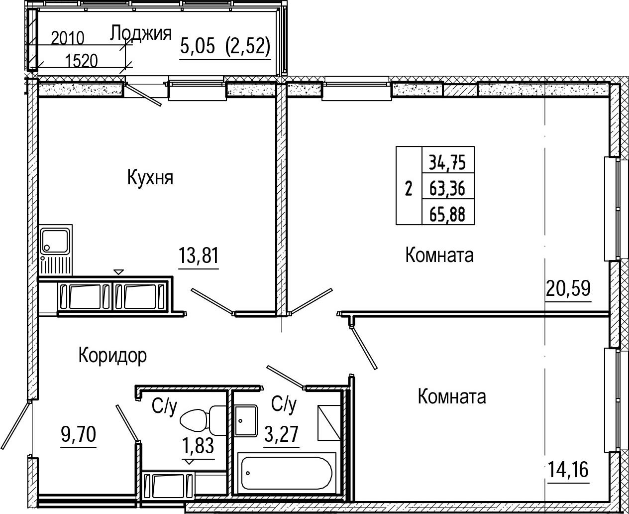 2-комнатная 68 м<sup>2</sup> на 23 этаже