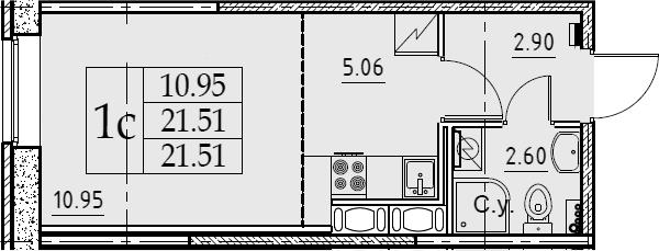 Студия 21 м<sup>2</sup> на 2 этаже