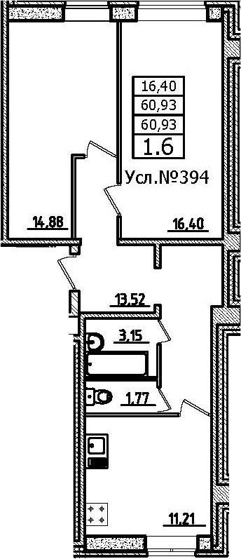 2-к.кв, 60.93 м²