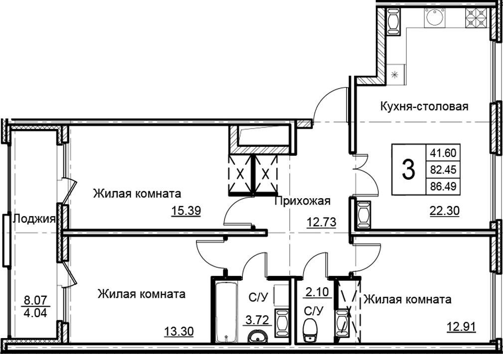 4-комнатная 90 м<sup>2</sup> на 14 этаже