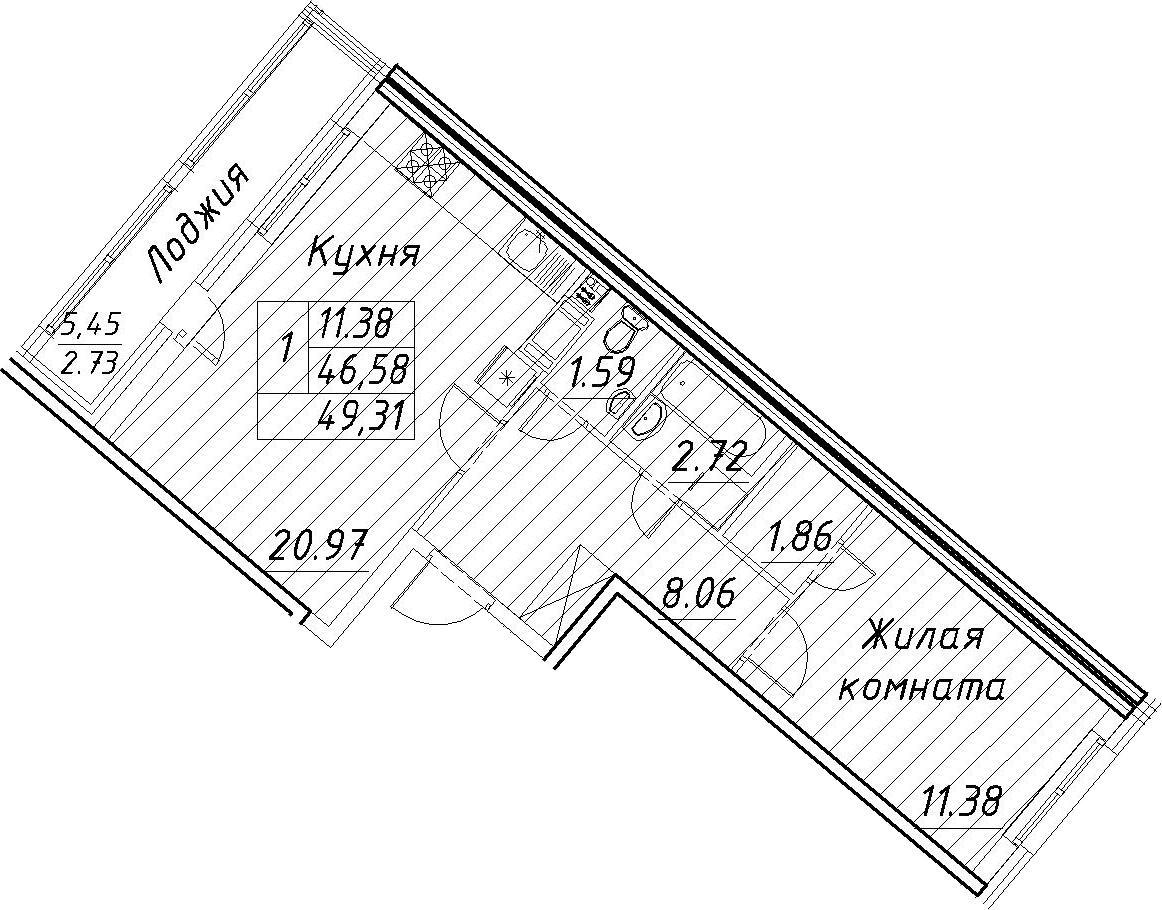 2-комнатная 52 м<sup>2</sup> на 7 этаже