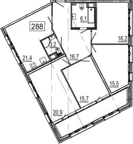 4-комнатная 128 м<sup>2</sup> на 4 этаже