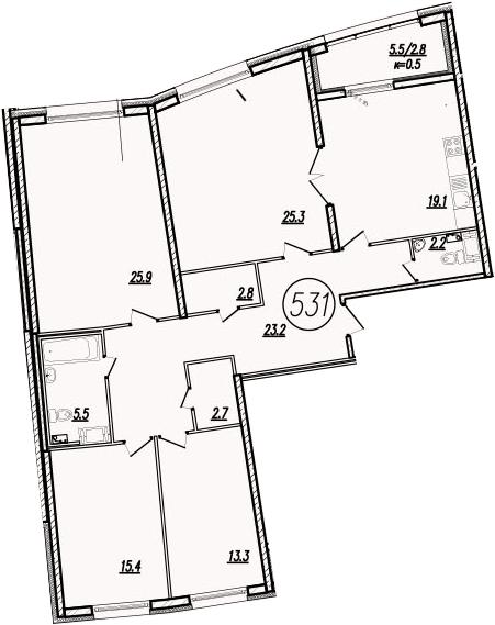 5-к.кв (евро), 142.4 м²