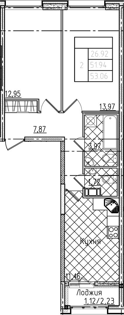 2-комнатная 54 м<sup>2</sup> на 7 этаже
