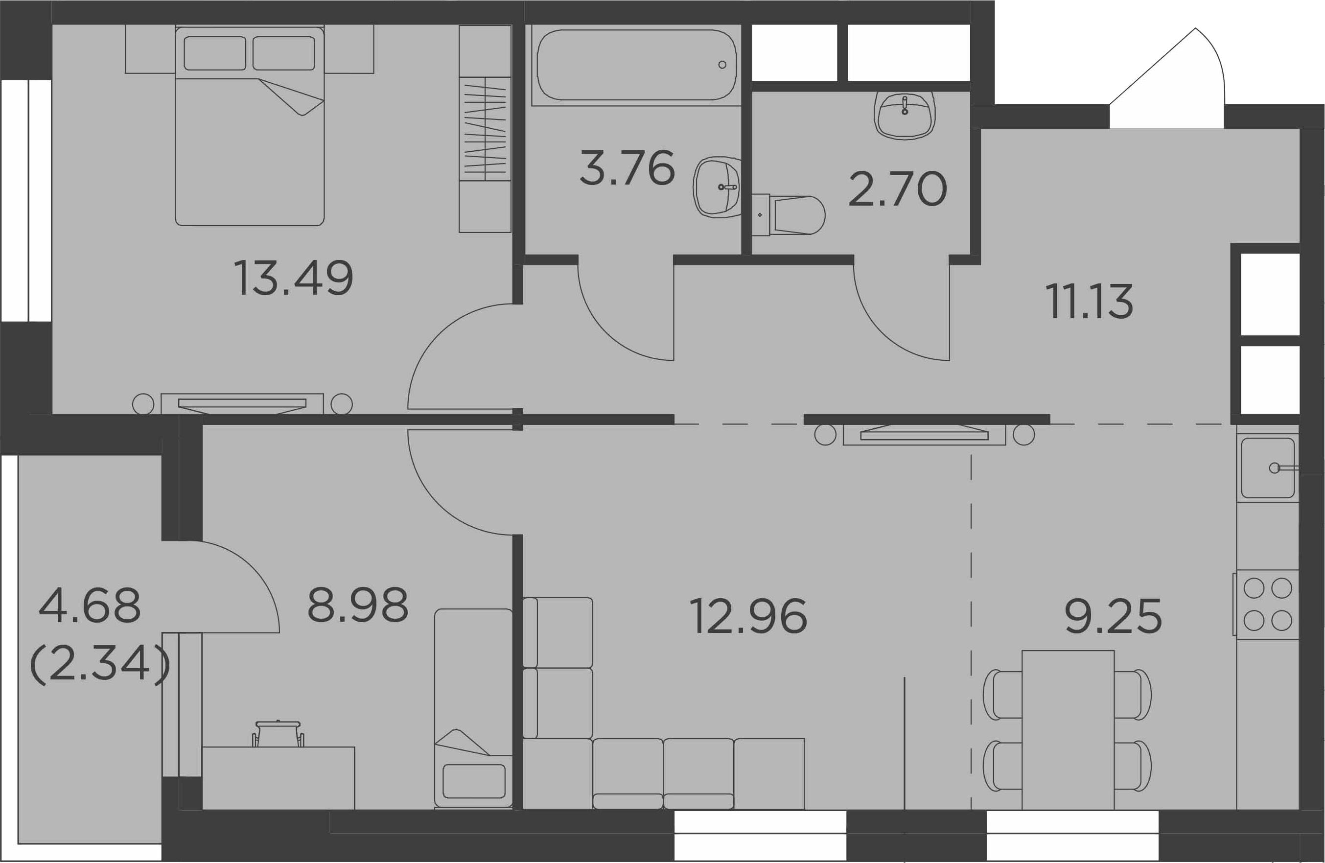 3-к.кв (евро), 66.95 м²