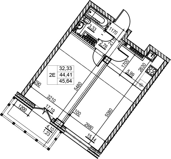 2-комнатная 48 м<sup>2</sup> на 7 этаже