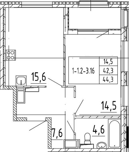 2-комнатная 46 м<sup>2</sup> на 8 этаже